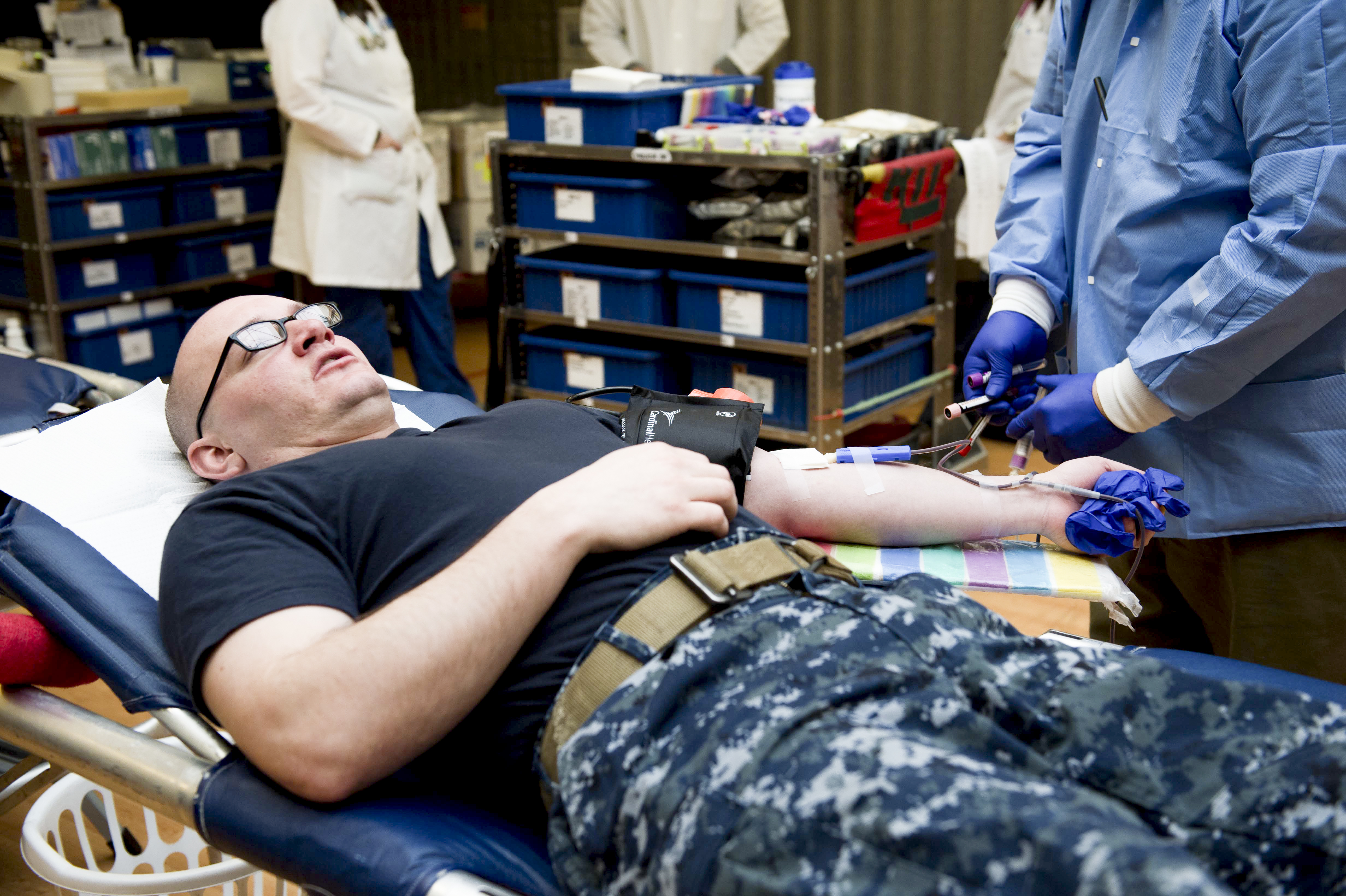 Navy personnel giving Blood