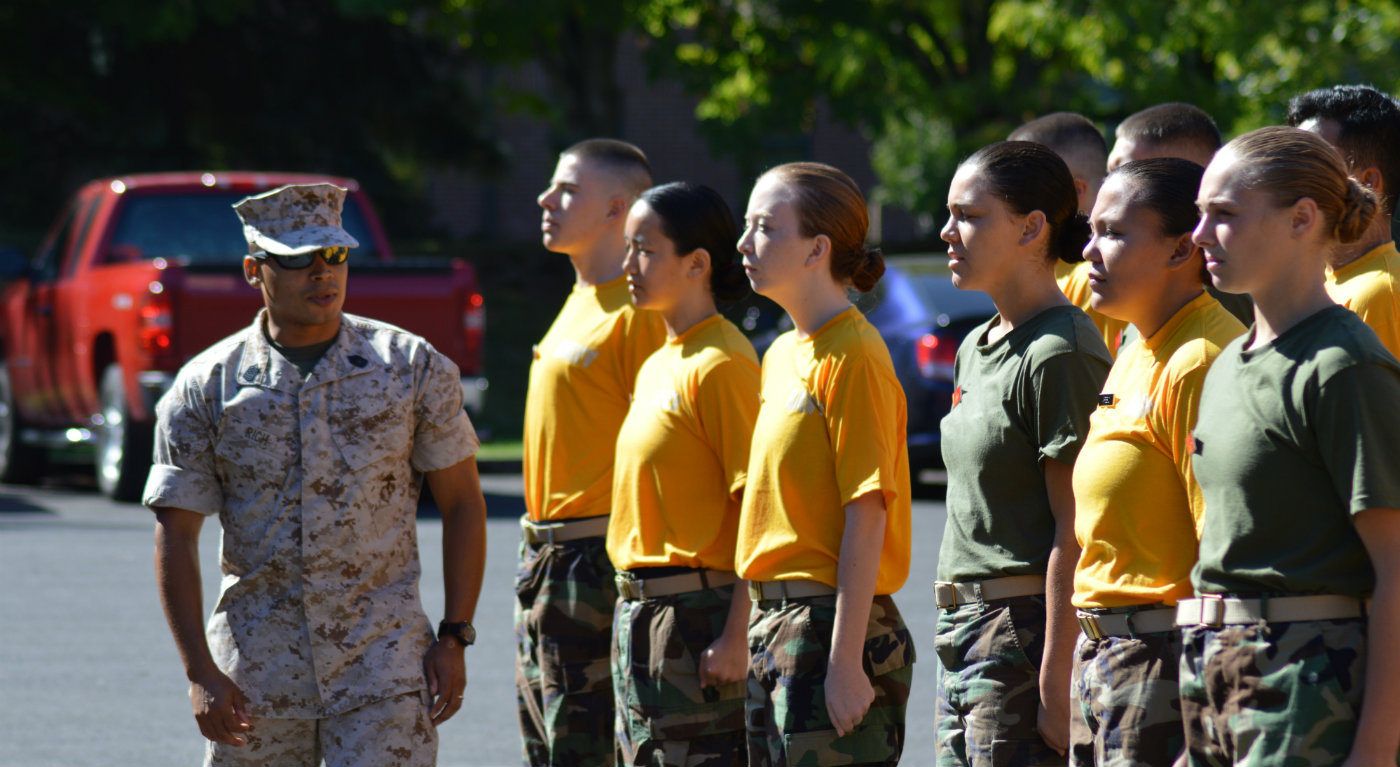 new students meet marine officer