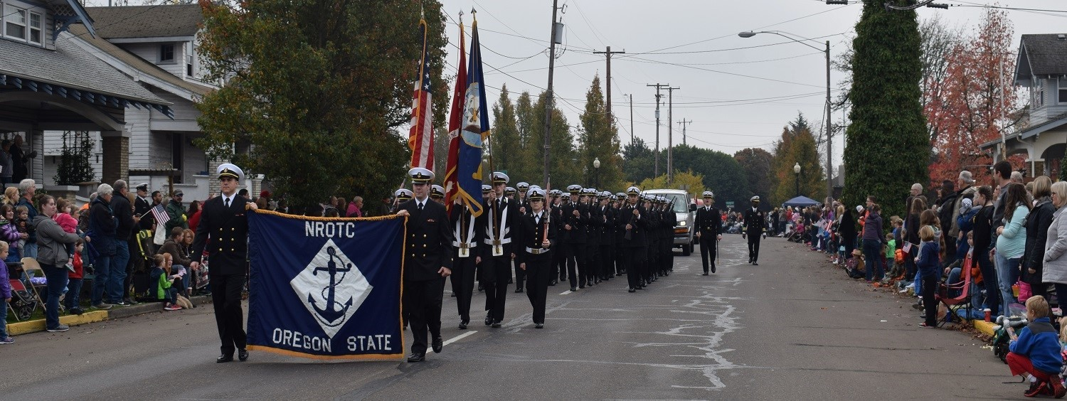 Naval Reserve Officers Training Corp Platoon marching in Albany Veterans Day parade