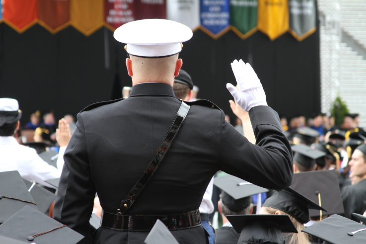 USMC cadet at OSU graduation ceremony