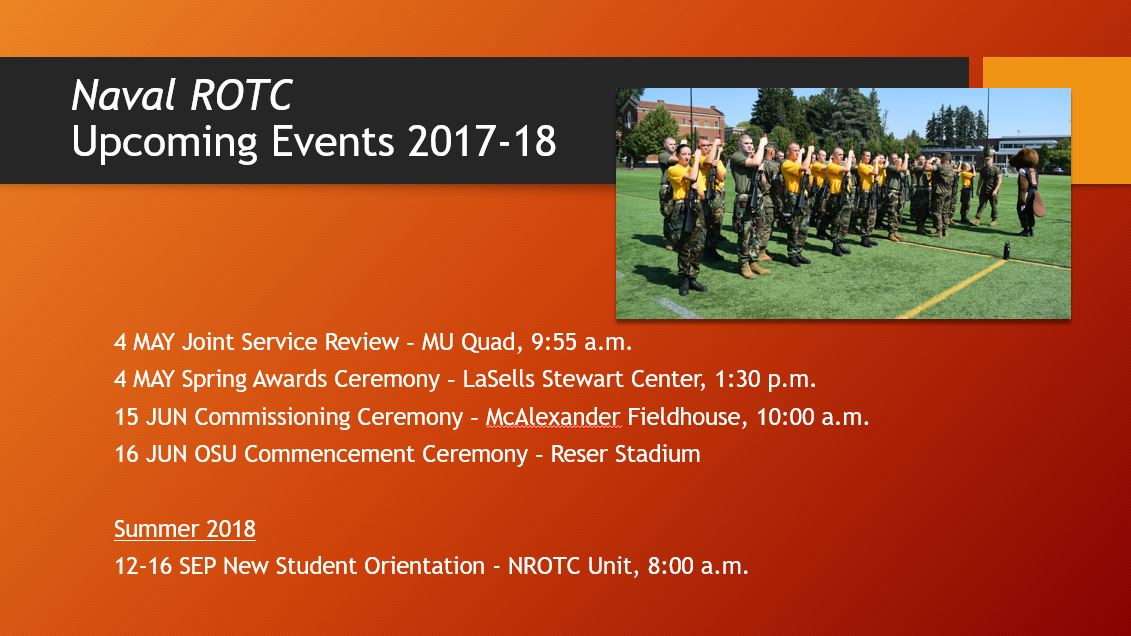 List of Naval ROTC upcoming events