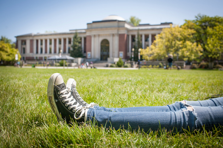 relaxing on the MU lawn