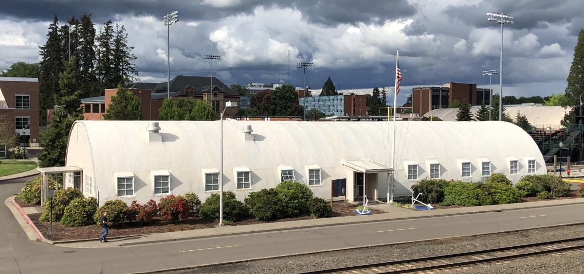 Full view of Quonset Hut, shot from Parking garage across the street.